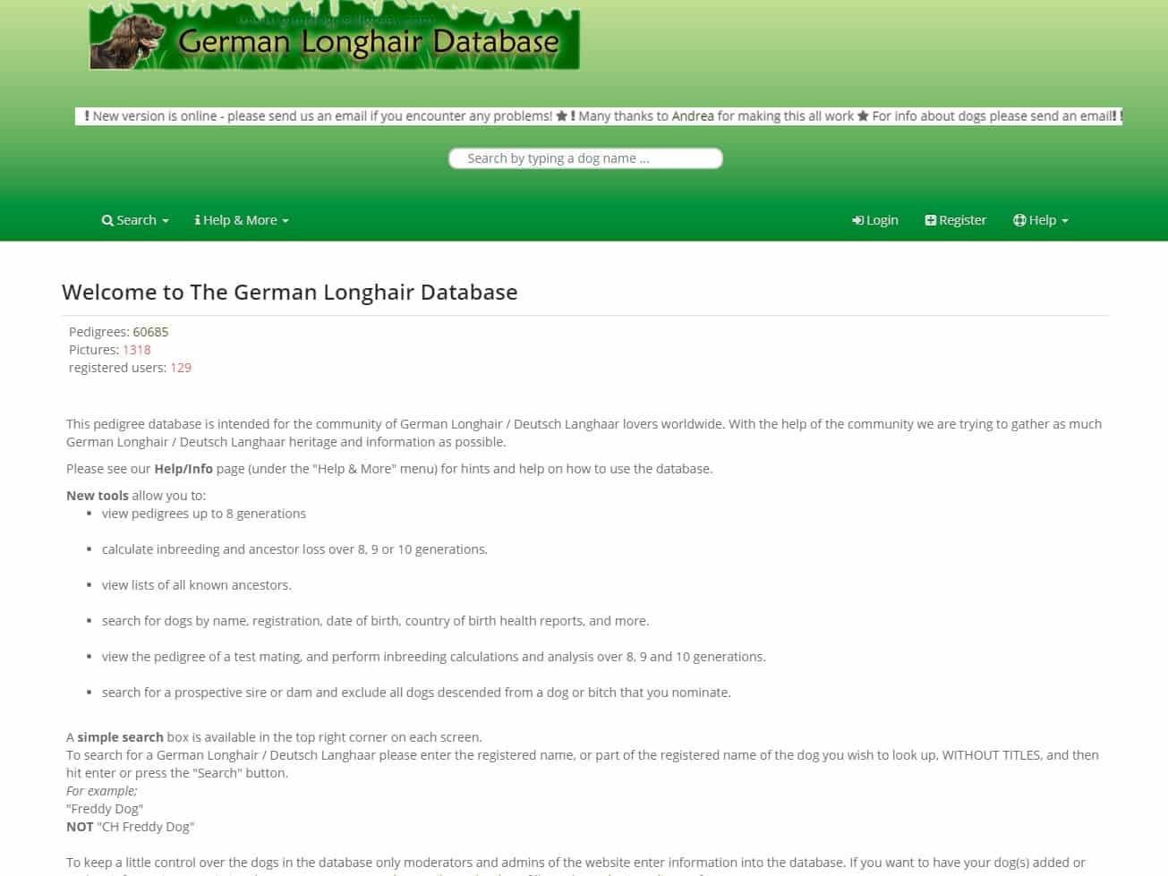 German Longhair Database